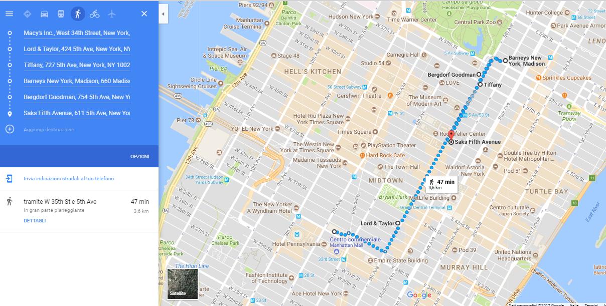 mappa vetrine di natale di new york