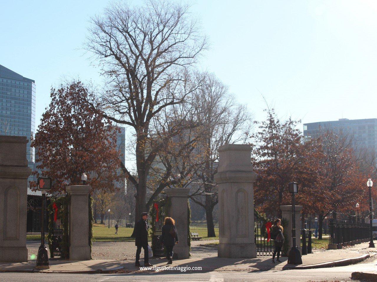 passeggiata al boston common park di boston, mattina al boston common park