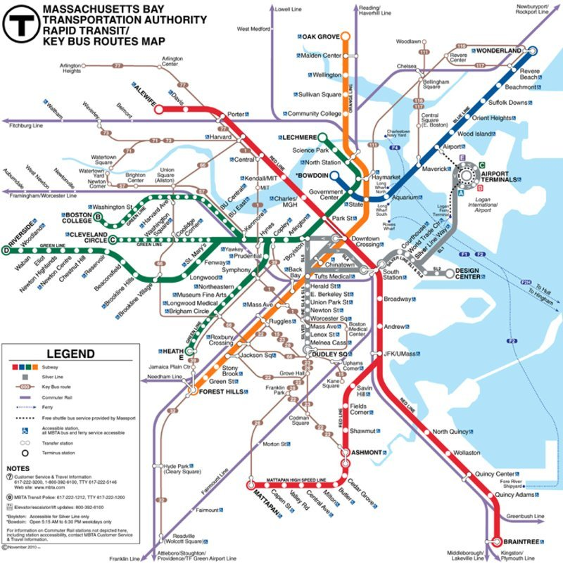 mappa metro boston, visitare harvard