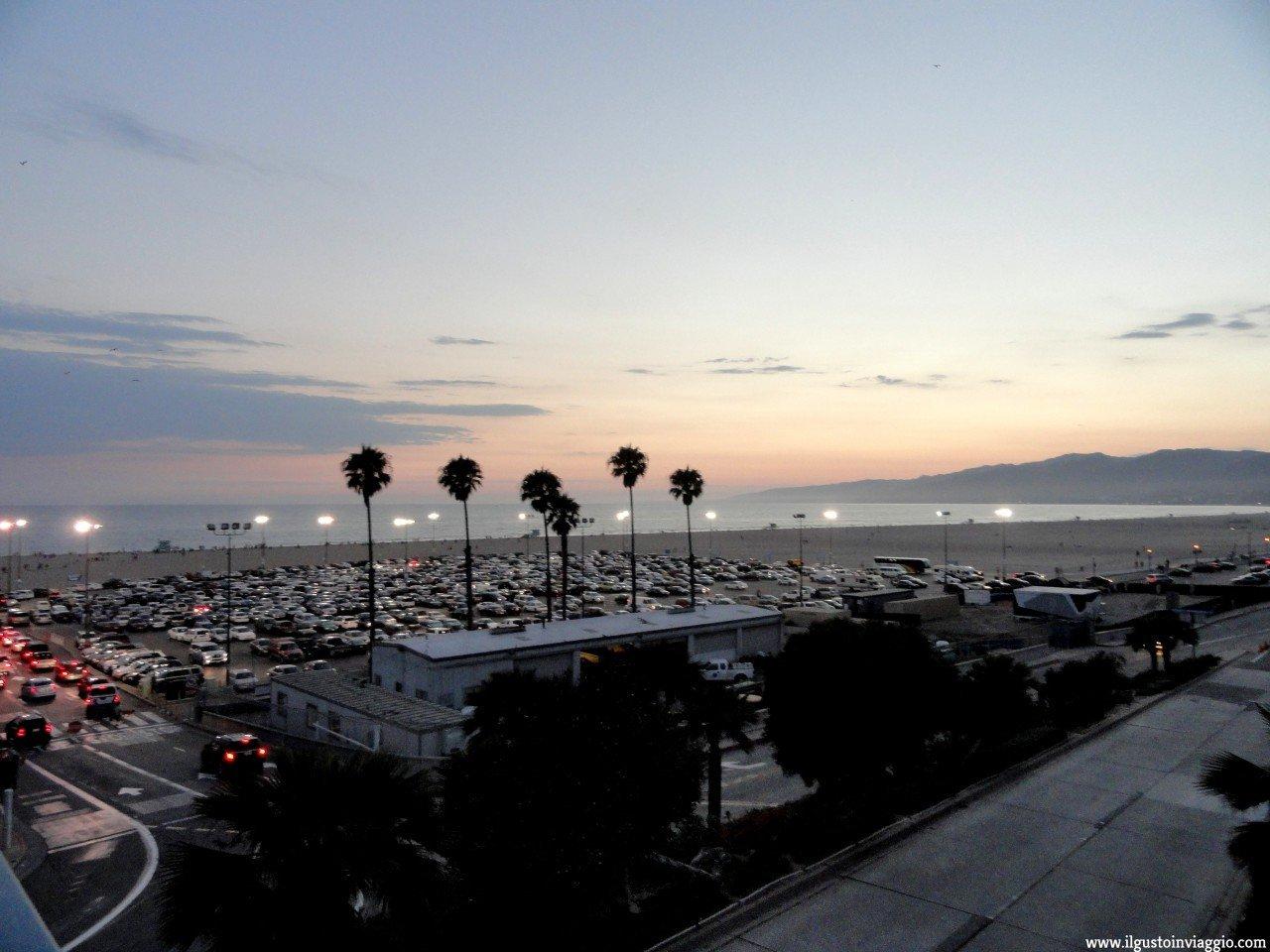 tramonto spiaggia santa monica, santa monica pier, california