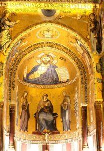 visita alla cappella palatina di palermo con bambini, cristo pantocratore, cappella palatina palermo abside