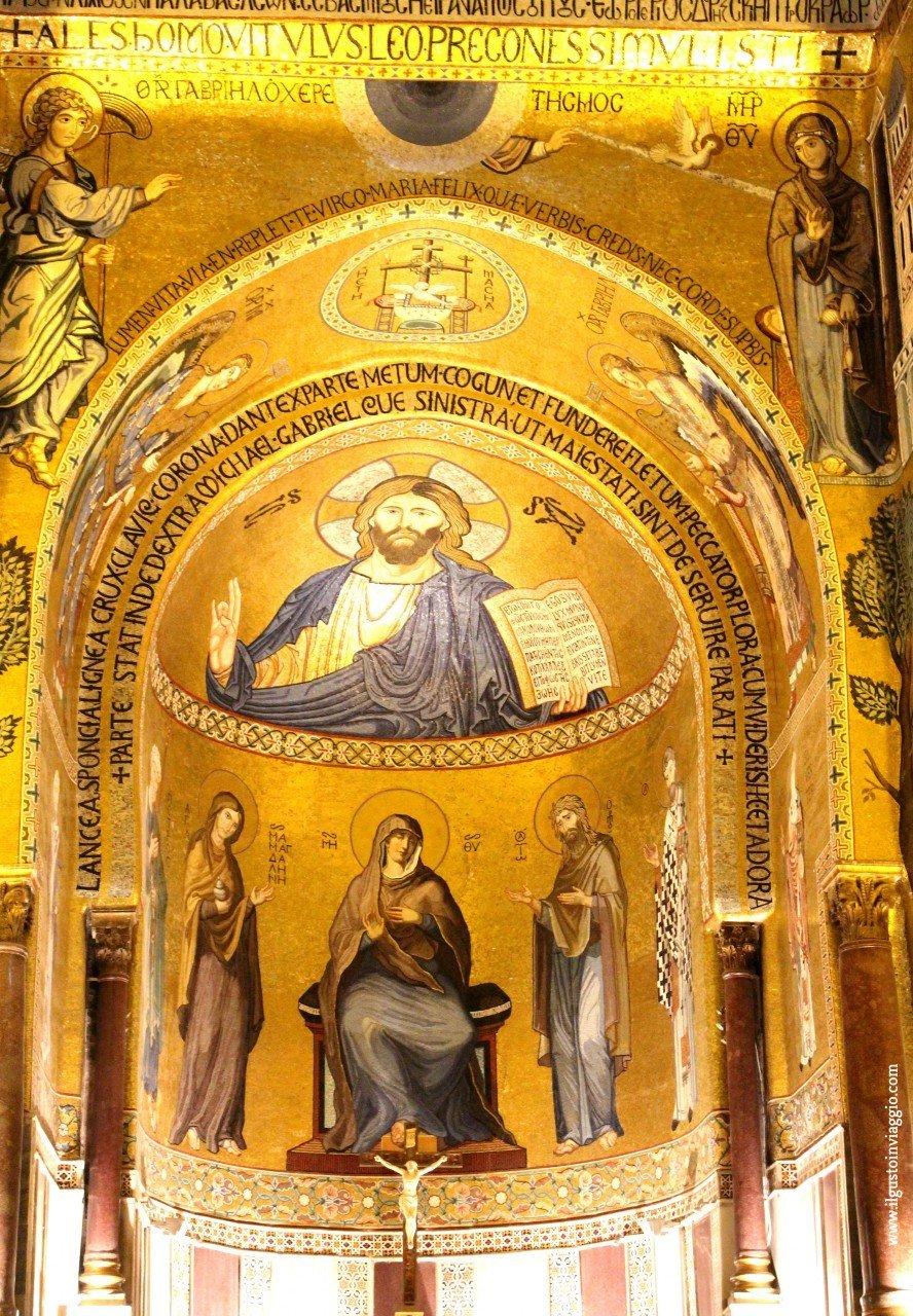 visita alla cappella palatina di palermo con i bambini, cristo pantocratore, cappella palatina palermo abside