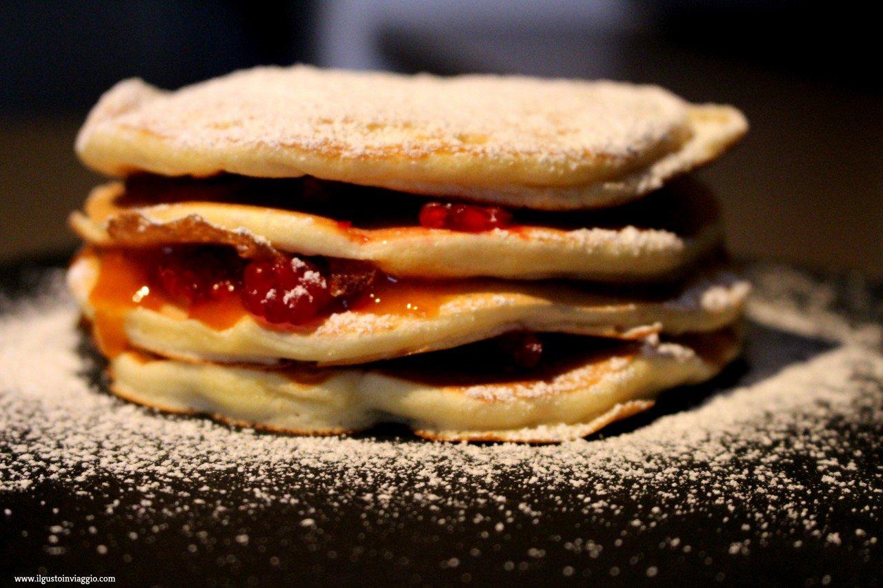 pancake lamponi e marmellata, ricetta pancake, pancake light