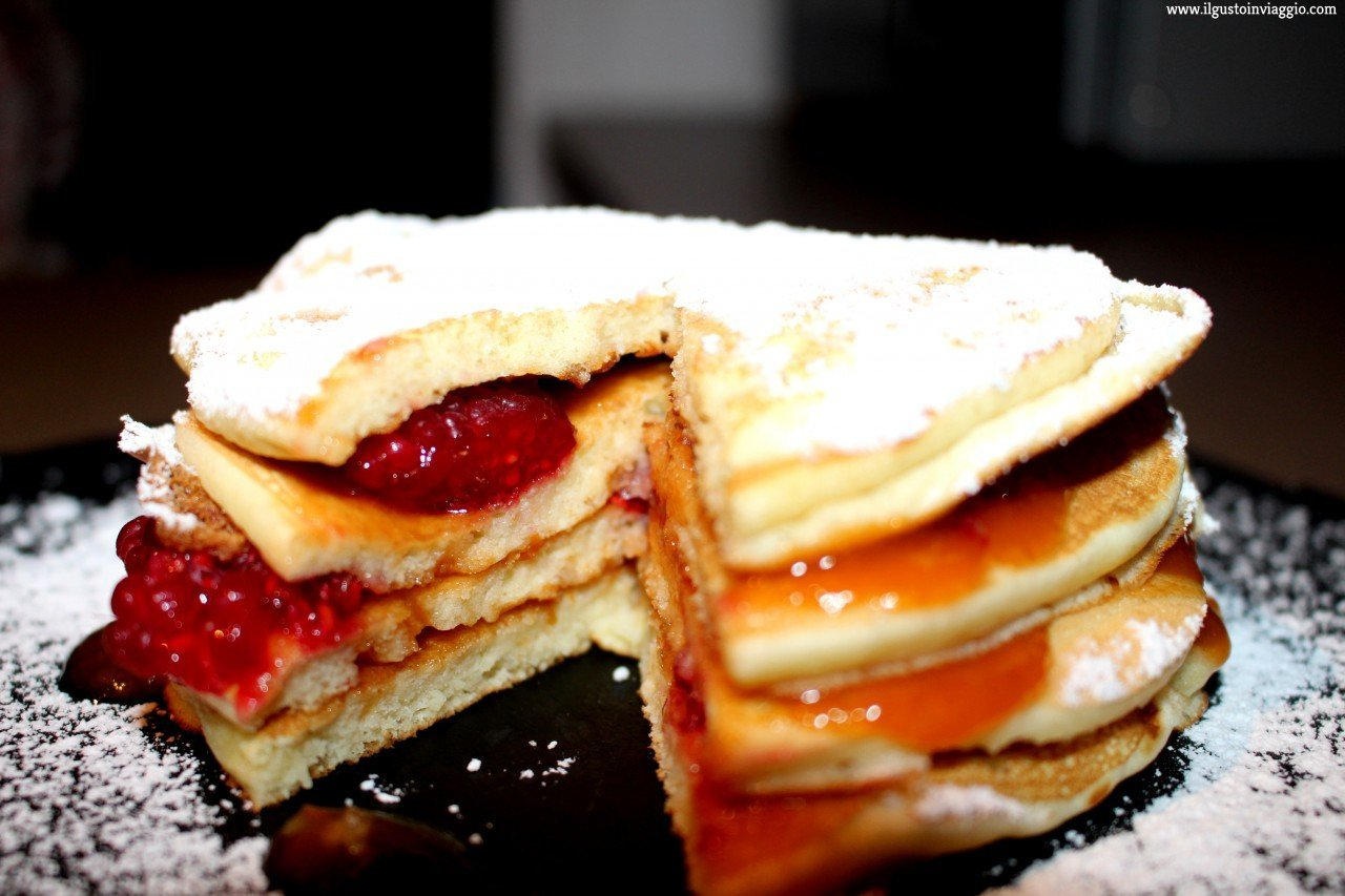 pancake lamponi e marmellata, pancake marmellata