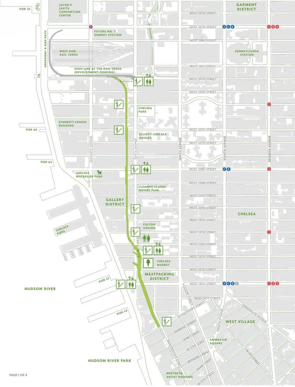 mappa highline, new york high line