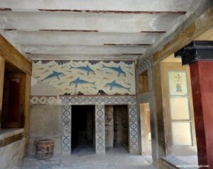 sala regina cnosso, visitare il palazzo di cnosso, delfini