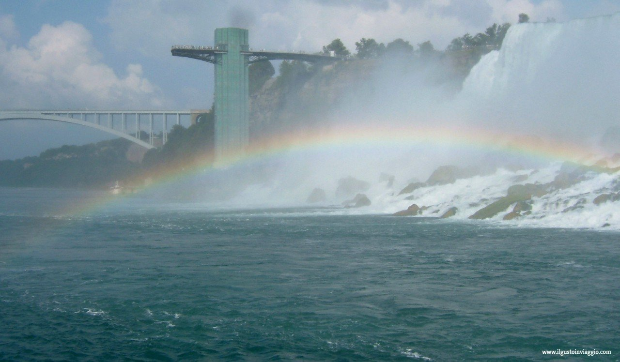 cascate del niagara con il battello, maid of the mist, raimbow bridge