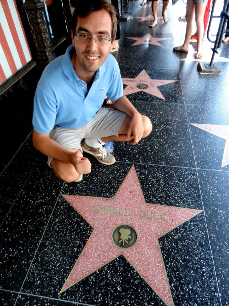 donald duck star, walk of fame, los angeles con i bambini